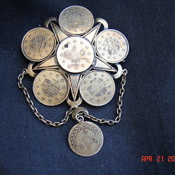 Asian Coin Pin Brooch With C Clasp