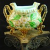 Victorian Harrach Bohemian High-End Barock Applied and Hand Painted Art Glass Jardinière