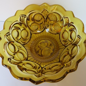Amber Pressed Glass Bowl - Glassware