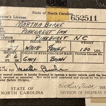 My Great Aunt Martha's Driver's License - Paper