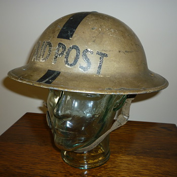 British WWII First Aid Post steel helmet