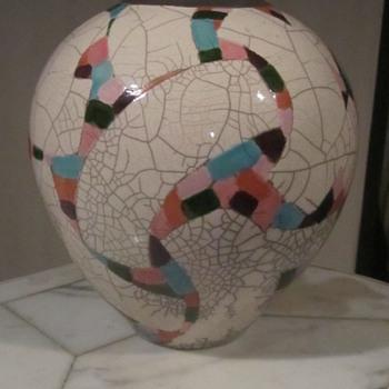Amadio Smith Racu Art Pottery Vase. Mosaic Confetti on Crackle Glaze...Laguna Calif. - Pottery