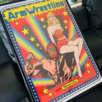 "1985 Nintendo Arcade Game Arm Wrestling Original Vinyl Poster Decal 25""x33"" New Old Stock - Games"