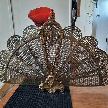 Victorian peacock fireplace fan - Victorian Era