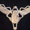 Egyptian Revival- Winged Scarab with Snakes- Brooch in Silver