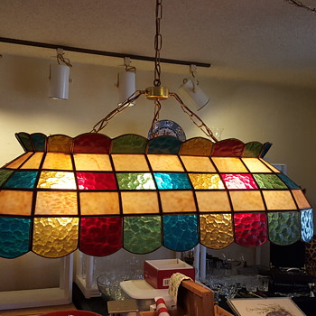 "Hanging Pool Table Tiffany Style Lamp 40"" 3 lights inside"