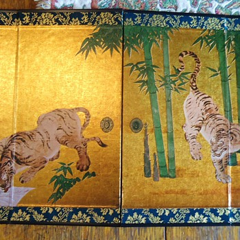"""PriceQtyTotal # 13744739 - """"Watering Tigers"""" Miniature Folding Screen$5.001$5.00 - Asian"""