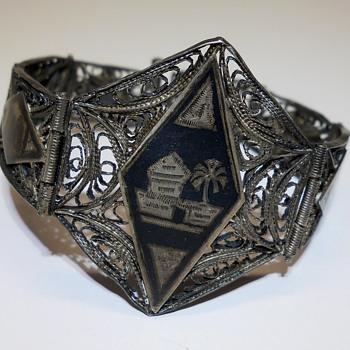 VINTAGE FILIGREE SILVER NIELLO JEWELRY Bracelet, Mid 20 Century - Fine Jewelry