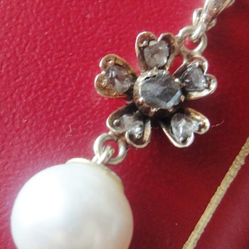 Victorian Pearl rose gold rose cut diamond pendant - Fine Jewelry