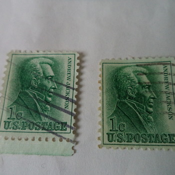 Andrew Jackson 1cent and 10 cents USA Stamps