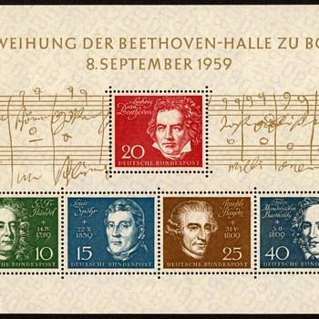 "1959 - W. Germany - ""Beethoven Hall"" Souvenir Sheet - Stamps"