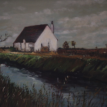 "Fishing Hut On The Ebro Delta""Spain"" Mickey Katz,XX Century painting on canvas. - Fine Art"
