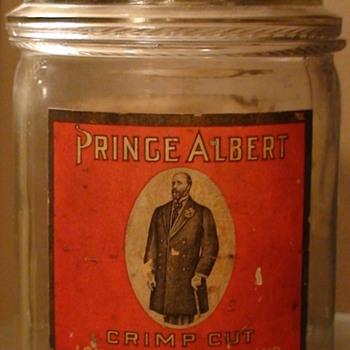 """""""Prince Albert"""" Glass Tobacco Container Circa 1910 (?)"""