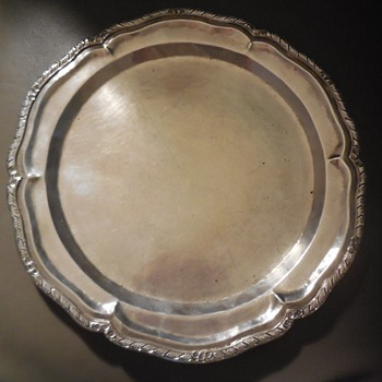 "Handmade Peruvian 900 Silver 13"" Tray Industria Peruana Unknown Makers Mark - Silver"