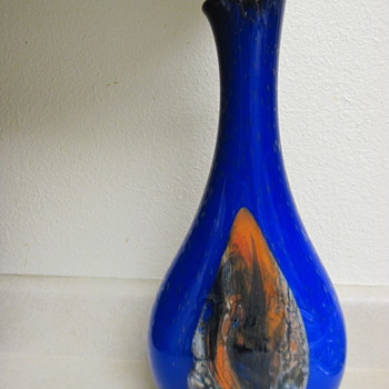 "17"" Cobalt Blue Vase With Controlled Bubbles - Art Glass"