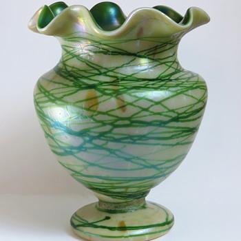 Bohemian Iridescent Opal and Green Threaded Vase - Art Glass