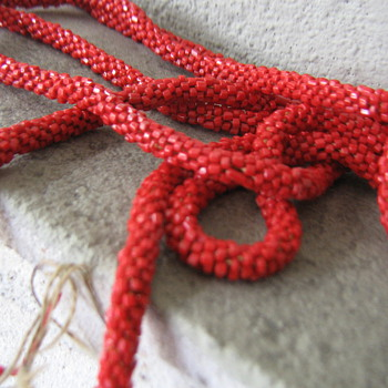 """Red Czech glass? 60"""" crocheted rope - Costume Jewelry"""