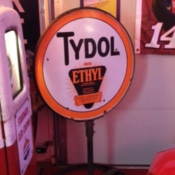 "1930's Tydol Ethyl Gasoline 30"" Double Sided Porcelain Lollipop Curb Sign - Signs"