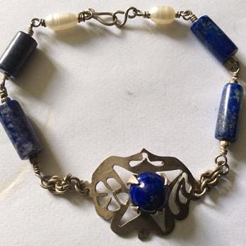 Old lapis & pearl bracelet
