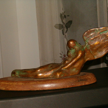 """Art Deco Bronze Myth Creature Sculpture,""""In The Arms Of Morpheus"""" By Amelia"""
