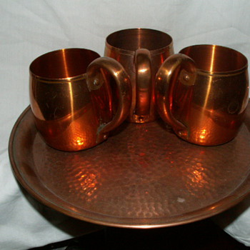 "Antique West Bend Solid Copper Mugs & ""Hammered"" Solid Copper Tray - Kitchen"