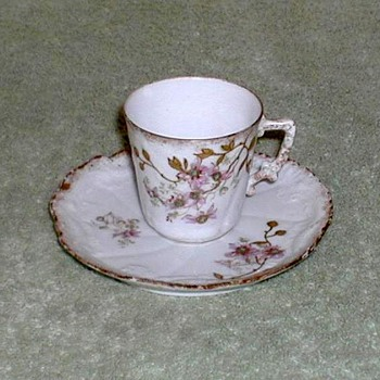 Limoges France Porcelain Demitasse Cup & Saucer - China and Dinnerware