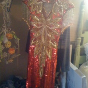 beaded vintage red and gold fashion dress - Womens Clothing