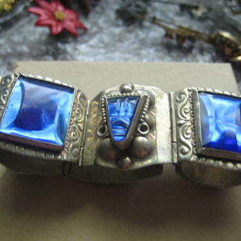 Silver link Bracelet with Cobalt tiles - Fine Jewelry