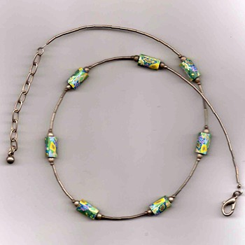 Tube Bead and Floral Necklace