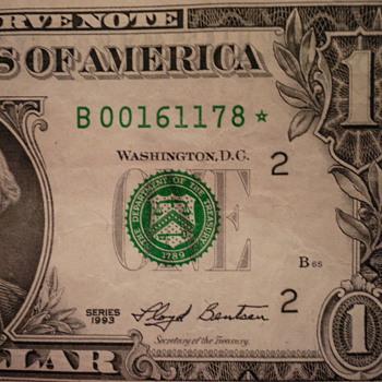 1993 One dollar Star bill