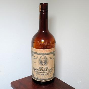 1942 Old Overholt 4/5 Quart Whiskey Bottle Owens-Illinois Glass Broadford Pennsylvania Embossed Labeled Vintage - Bottles