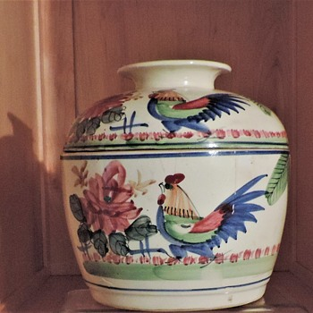 Asian pottery ceramics Large jar bowl with lid Rooster - Asian