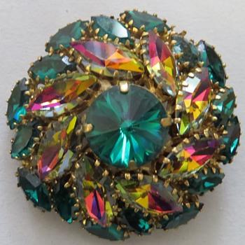 Vintage Navette Pinwheel Brooch - Costume Jewelry