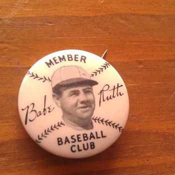 Vintage Babe Ruth 1934 Quaker Oats Baseball Club Member Pinback - Medals Pins and Badges