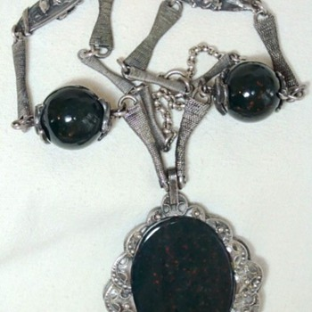 Egyptian? Large Bloodstone Pendant Silver Necklace  - Fine Jewelry
