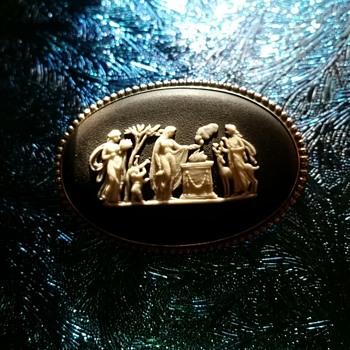 Vintage Wedgewood Basalt Jasperware Brooch - Fine Jewelry