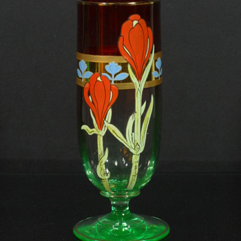 Fritz Heckert rubina verde enameled vase - Art Glass