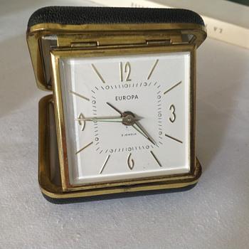 1950's German Europa travel alarm clock. - Clocks