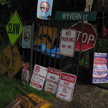 Display of damaged highway signs I have - Signs