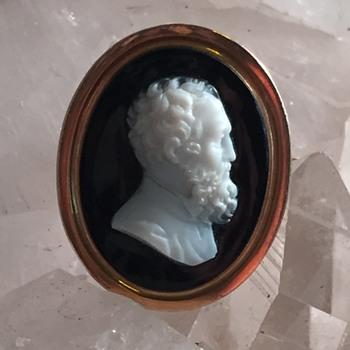 Victorian hard stone portrait cameo ca 1866 - Fine Jewelry