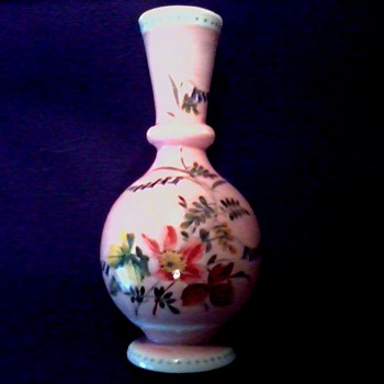 """Pretty in Pink""  7"" Bristol Glass Vase / Hand Painted Flowers on  Pink-White Glass /Circa 19th Century - Art Glass"