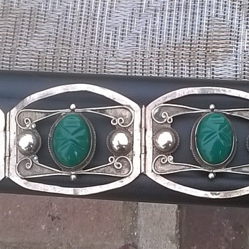 beautiful,rare,Vintage, Hand crafted, Taxco Silver Bracelet 4 panels with carved masks - Silver