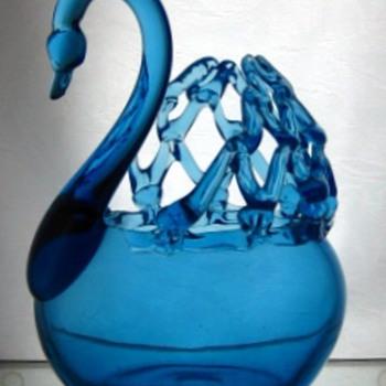 Cobalt Blue Glass Swan - Art Glass