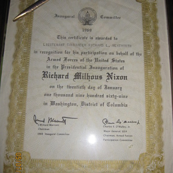 1969 Nixon Inuagural Committee certificate and pen used to sign his inuaguration - Paper