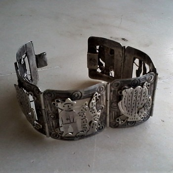 1950's Mexico sterling panel bracelet - Fine Jewelry