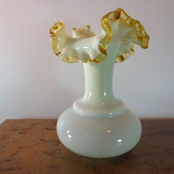 Vaseline Glass Vase - Art Glass