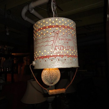 Galvanized Minnow Bucket Hanging Light.