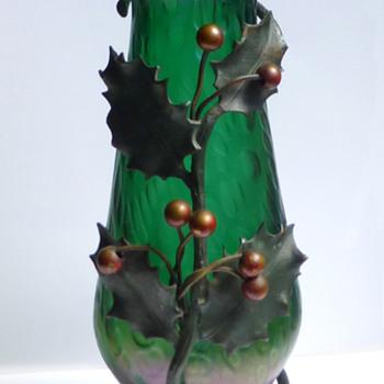 Kralik Diaspora Vase with Holly Mount - Christmas in April! - Art Glass