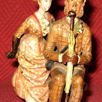 Antique Moritz Spitz  Austrian Cold Painted Bronze Couple (Signed) - Art Deco