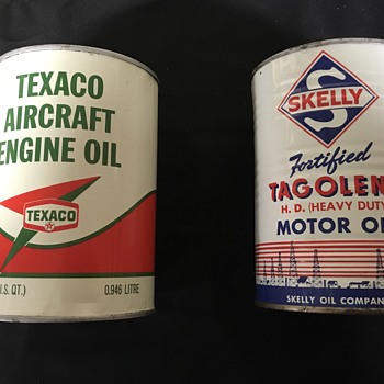 Texaco and Skelly oil cans  - Petroliana